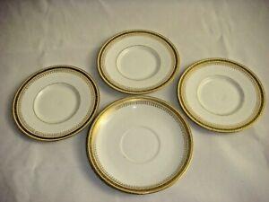 4 ANTIQUE LIMOGES FRANCE J.P.L. Jean Pouyat GOLD & WHITE SMALL PLATES