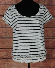 Lucky Brand XL Top Womens Size Blouse Boho Striped Lace Floral Cap Sleeve Boat