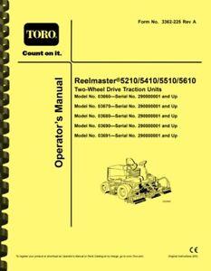 Toro Reelmaster 5210 5410 5510 5610 Lawn Mower OWNER'S MANUAL & SERVICE MANUAL