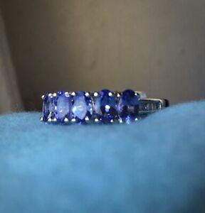NEW Premium Natural Tanzanite & Genuine Diamond 5-Stone Band Ring, Platinum Sz 5