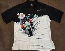 HARLEY DAVIDSON Christmas SANTA CLAUS Motorcycle Tori Richard Button Up Shirt XL