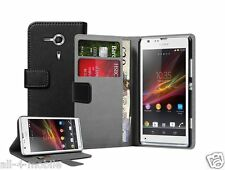 Black Wallet Leather Case cover for Sony Xperia SP experia LTE / C5303 / C5306