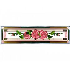 42x10 PINK ROSES Floral Stained Art Glass Window Suncatcher