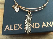 RARE ROSE GOLD ALEX and ANI LARGE FEATHER Charm BANGLE GOLD Bracelet