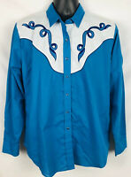 Ely Country Charmers Women's Teal Blue Button Snap Shirt Size XL