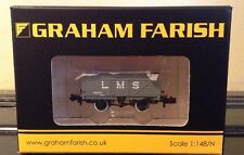 Graham Farish 377-087. 7 Plank End Door Wagon   LMS Grey.  N Gauge.