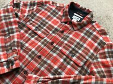 L.L. Bean Men's Fleece Lined Flannel Shirt Large Plaid Red Brown Long Sleeve