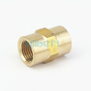 """2pcs 1/4"""" BSPP x 1/4"""" NPT Female Hex Nipple Reducer Brass Pipe Fitting Connector"""