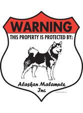 "Warning! Alaskan Malamute - Property Protected Aluminum Dog Sign - 7"" x 8"""