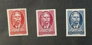 Hungary 959-61 Mi 1170-1172 Imperf MNH Cats $ 25. 60 f stamp with crease.