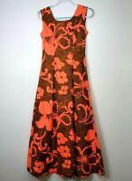 Hukilau Fashion Vintage Dress Small S Hawaiian Orange Barkcloth Sleeveless