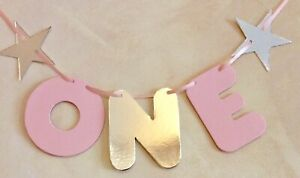 1st BIRTHDAY GIRLS 'ONE' PARTY BUNTING PINK AND SILVER HIGH CHAIR BANNER