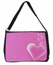 Pink Hearts 'Forever' Sentiment Large Black Laptop Shoulder Bag School, LOVE-2SB