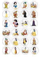 24 Snow White & enanos Oblea De Papel De Arroz Cupcake Topper Comestible Hada Cake Toppers