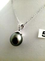 pendentif perle de tahiti sertie de diamant en or blanc 18k (750/1000)