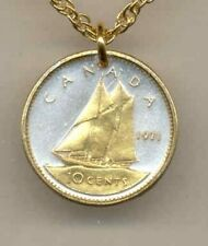 "Canadian 10 cent ""Bluenose sail boat"" Coin Pendant Necklace."