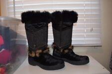 Tecnica Skandia Real Fur Boots BLACK Size 5.5 Women's