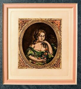 Victorian Lady etching , double matted