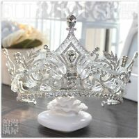 Queen Luxury Crystal Bead Big Crown Jewelry Pageant Vintage Wedding Bridal Gown