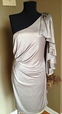 NWT Gold One- Shoulder Cache Dress Size 12