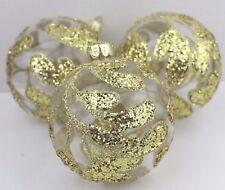 Gisela Graham Natale palla di vetro chiaro Grande Oro Foglia Design Decorazione x 3