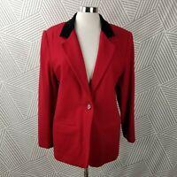 Sag Harbor 100% Wool Blazer Jacket size 12 boxy button coat career Velvet Collar