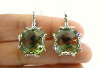 Green Amethyst Prasiolite Vermarine 925 Sterling Silver Dangle Hook Earrings