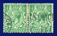 1924 SG418 ½d Green N33(1) Pair Good Used ayax