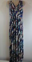 Soma Womens Sz M Multicolor Maxi Dress Empire Waist Jersey Knit Sleeveless READ