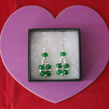 Beautiful Earrings With Faceted Emerald  4.6 Gr.4.5 Cm.Long + 925 Silver Hooks