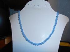 Perlenhalskette wunderschöne feine Kette 6mm Glas Perlen in Hell blau 48cm