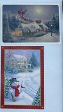 17 Cards: 2 Sets w/ envelopes Hallmark Christmas +Thomas Kinkade Glitter Cards
