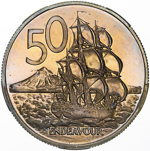 1967 NEW ZEALAND 50 CENTS PROOF REMARKABLE TONED COLOR BU UNC LUSTER (MR)