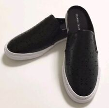 NWOB Ivanka Trump Slip On Mules Flat Shoes Size7 Black Perforated Cutout Rubber