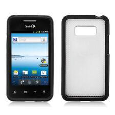 For LG Optimus Elite LS696 TPU Gel GUMMY Hard Skin Case Phone Cover Black Clear