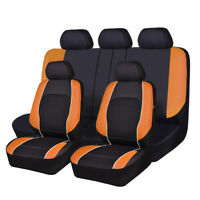Universal Car Seat Covers Leather Mesh Airbag 11 PCS Breathable Full Set Orange