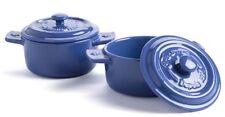 "Set/2 Fontignac 4"" BLUE Mini Single Serving Individual Casserole/COCOTTEs Dishes"