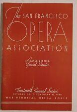 Sf Opera Association rare vintage programOct 30/Nov 22 1936 merola