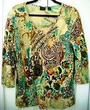 WESTBOUND Dilliard's Blouse-XL-Multicolored-Abstract design-3/4 sleeves
