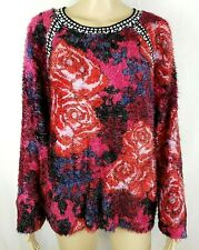 Desiguel Womens Large Fuzzy Soft Floral Sweater
