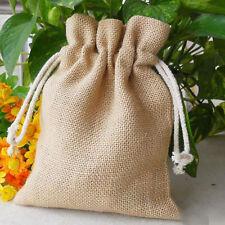 Burlap Bags Drawstring Favor Wedding Rustic Brown Sack Gift Pouch Gunny 7*10CM