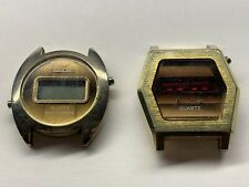 2 vintage bulova quartz wristwatches for parts or repair