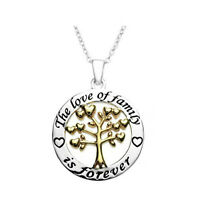 *UK* 925 SILVER PLT 'THE LOVE OF FAMILY IS FOREVER' ENGRAVED NECKLACE TREE HEART
