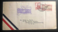 1928 Nuevo Laredo Mexico first flight Airmail Cover FFC To Fitchburg MA USA