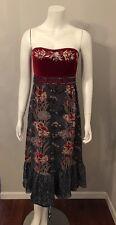 Stunning Nanette Lepore Red Velvet Top Silk Chiffon Floral Bottom Dress Size 6