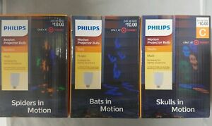 Philips Rotating Halloween LED Projection Bulb Skulls Spiders or Bats