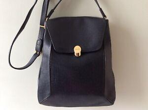 TEXIER real leather ladies vintage navy blue semi structured shoulder bag