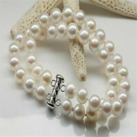 2 strands 9-10mm round white pearl bracelet 7.5inch Flawless Aurora Chain Clasp