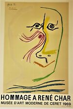 PICASSO Original Color Lithograph RENE CHAR 1969 Limited Edition 109/200 Mourlot