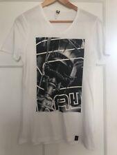 G Star Raw Blanco para Hombre Cuello en V Camiseta Ceñido Estampado Levion medio
